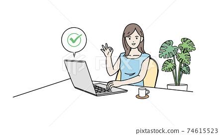 計算機病毒檢查安全檢查女性插畫素材 74615523