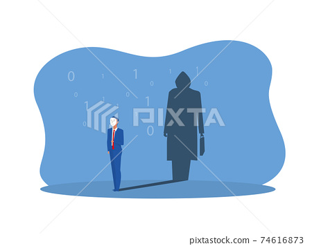 businessman holding mask with thief shadow in studio concept vector illustrator. 74616873