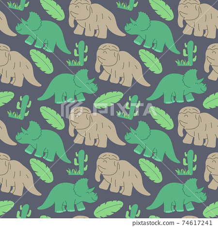 funny dinosaurs seamless pattern Ideal for cards, invitations, wallpaper, backgrounds and children room decoration. 74617241