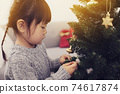 Christmas decorations and girls 74617874