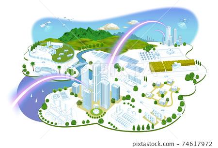 네트워크로 연결된 도시 생활의 거리 일러스트 변형있다 74617972