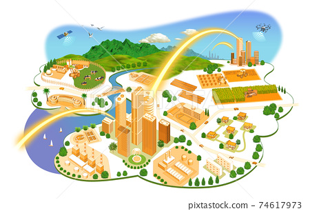 네트워크로 연결된 도시 생활의 거리 일러스트 변형있다 74617973