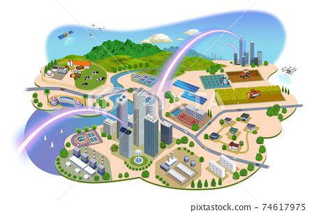 네트워크로 연결된 도시 생활의 거리 일러스트 변형있다 74617975