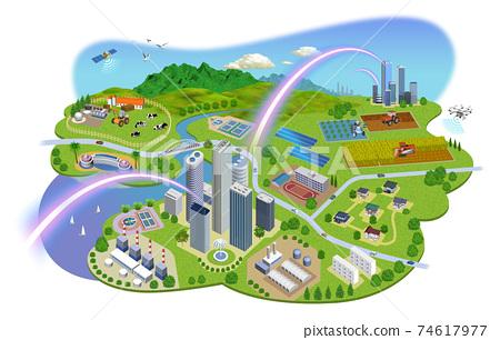 네트워크로 연결된 도시 생활의 거리 일러스트 변형있다 74617977