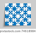 Banner made pieces puzzle jigsaw vector banner 74618984