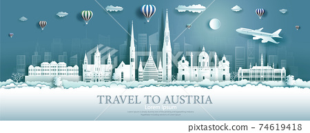 Travel Austria landmarks in vienna city with balloons. 74619418