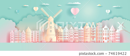 Paper Art, paper cut, Origami, Postcard And Poster, Netherlands Colorful Architecture. 74619422