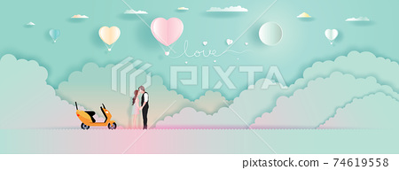 Young couples with Balloons love and romantic view. 74619558