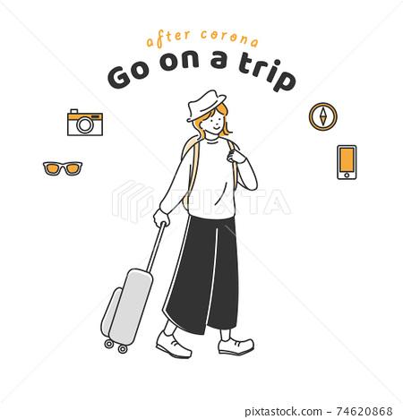 一個女人帶手提箱和背包獨自旅行 74620868