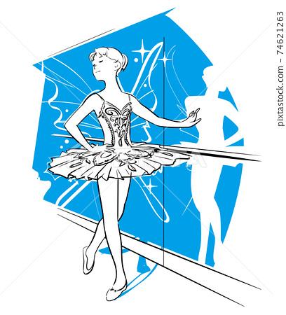女人跳舞芭蕾舞形象的蝴蝶 74621263