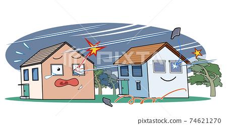 폭풍 속에서 창문이 깨지는 집과 셔터가있다 무사히 집 74621270