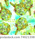 A seamless pattern of watercolor artichokes on a teal blue and green background 74621398