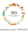 Travel poster with famous destinations and landmarks of India 74621952