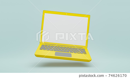 Computer laptop yellow color . 74626170
