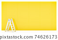 Ladder and yellow wall. 74626173