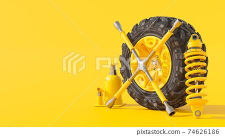 Yellow truck wheels. 74626186