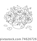 Flowers in a vase. Bouquet isolated on a white background. Vector illustration 74626726