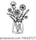 Flowers in a glass jar. Bouquet isolated on a white background. Vector illustration 74626727