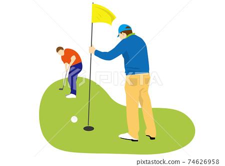 男性高爾夫球手穿綠色和附帶的高爾夫球手用別針(無背景) 74626958
