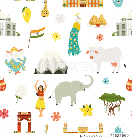 Seamless pattern with famous symbols, landmarks, animals of India. 74627660