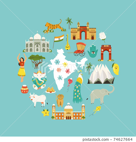 Travel poster with famous destinations and landmarks of India 74627664