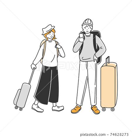 一個男人抬頭看旅行的目的地和一個女人側身看著 74628273