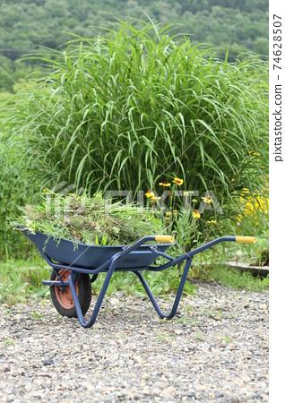 외발 자전거에 쌓인 잔디, 정원 74628507