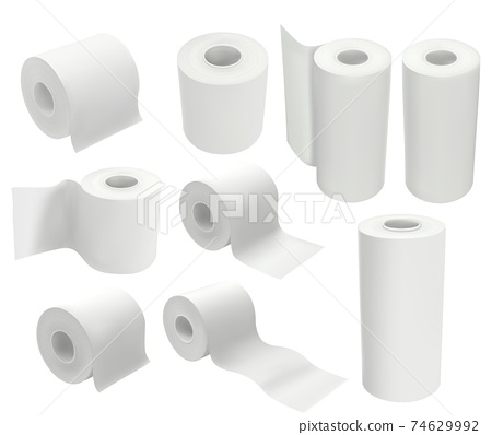 Toilet paper roll isolated on white background. Mock up package vector illustration in 3d realistic style. Set of hygienic tissues and kitchen towels 74629992