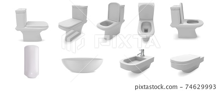 Washroom toilet sink isolated on white background. 3d realistic vector objects. Bathroom ceramic furniture, basin, water heater, bidet. Home interior illustration 74629993