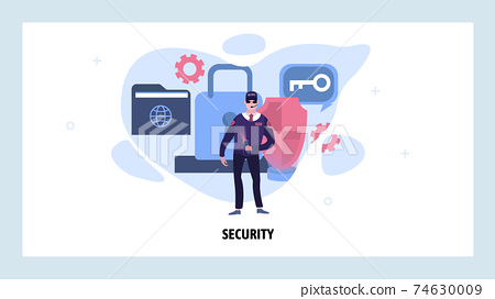 Security guard protect data and privacy. Secure access and cyber safety. Vector web site design template. Landing page website concept illustration 74630009