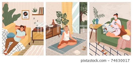 Stay at home concept vector illustration. Man listen music on vinyl recorder. Woman doing yoga and meditation at home. Girl read and relax on sofa. Mindfulness, wellbeing and relax 74630017