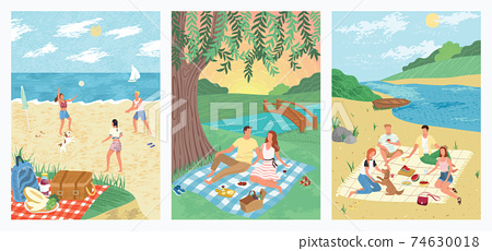 Summer sea vacation on tropical beach holiday concept vector illustration. People play volleyball on sand. Couple drink wine and watch sunset in a park. Friends at picnic, outdoor activity 74630018