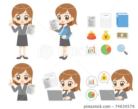 女套裝做會計工作動漫風格的角色 74630579