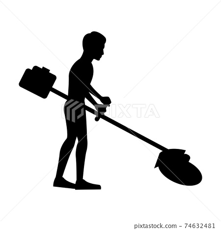 black silhouette design with isolated white background of man lawn mowing 74632481