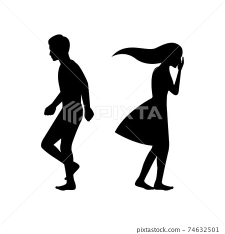 black silhouette design with isolated white background of couple breaking up 74632501