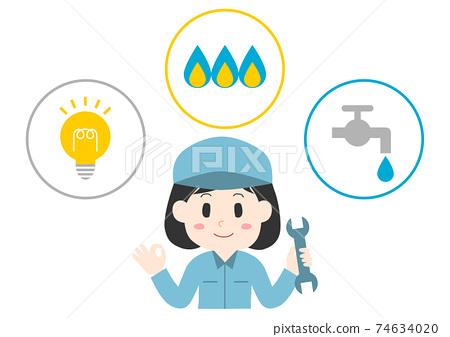 전기 · 가스 · 수도 및 여성 근로자 일러스트 74634020