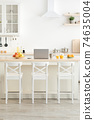 Home office in kitchen, vitamins during covid-19 lockdown 74635004