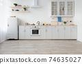 Light kitchen in daylight, simply, minimalist scandinavian interior 74635027
