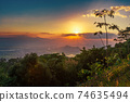 Sunset view over the mountain, Vietnam. 74635494