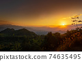Sunset view over the mountain, Vietnam. 74635495