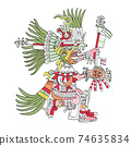 Huitzilopochtli, Aztec god, as depicted in Codex Telleriano-Remensis in 16th century. Deity of war, sun, human sacrifice, patron of Tenochtitlan, and national god of the Mexicas. Illustration. Vector. 74635834