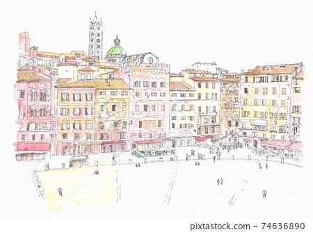 在意大利錫耶納的坎波廣場上,世界遺產城市景觀 74636890