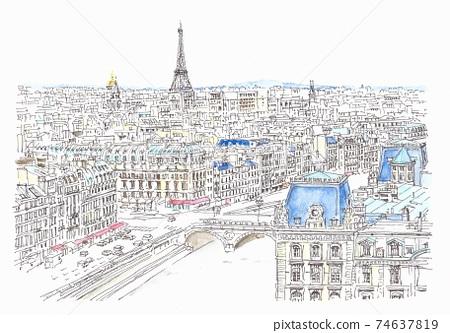 世界遺產城市景觀,從巴黎圣母院鳥瞰 74637819