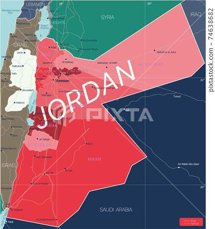 Jordan country detailed editable map 74638682
