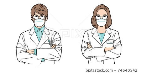 Person illustration pharmacist men and women wearing masks 74640542