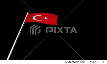 土耳其國旗在風中飄揚 74640554