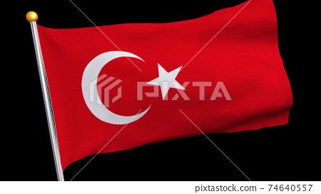 土耳其國旗在風中飄揚 74640557