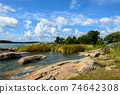 Scenic view of lake and clear blue sky in nature 74642308