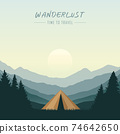 wanderlust camping adventure in the wilderness tent in the forest at mountain landscape 74642650