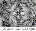 Gemstone diamond or shiny glass triangular texture kaleidoscope 74642804